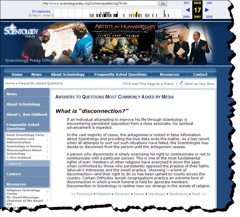 Screenshot of the Scientology Press Office page as archived by the Internet Archive
