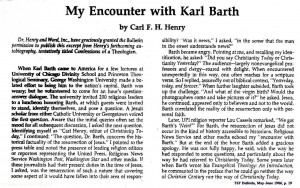 Karl Barth and Carl Henry