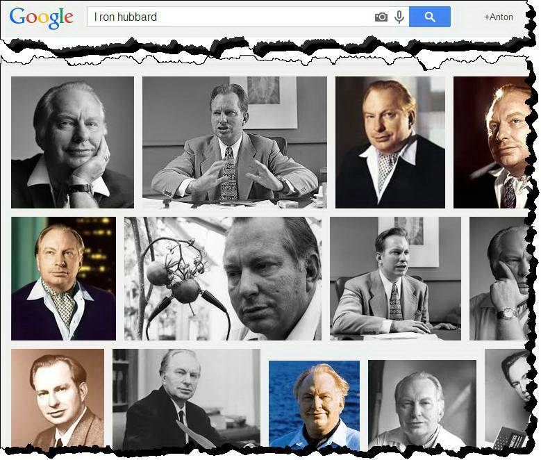 Screenshot of a Google Image search for L. Ron Hubbard
