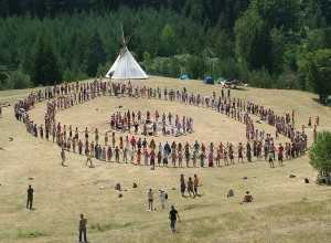 Rainbow Gathering prayer circle in Bosnia, 2007.  Photo by Aljaz Zajc, CC BY-SA 3.0